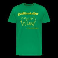 T-Shirts ~ Männer Premium T-Shirt ~ Leibchen H Druck goldgelb