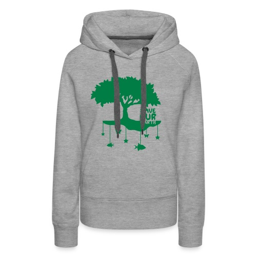 saveourearth sweat&capuche (f) gris - Sweat-shirt à capuche Premium pour femmes