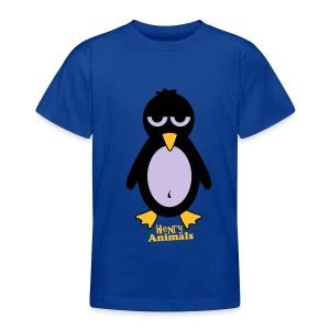 Kinder T-Shirt royalblau mit Pinguin - Teenager T-Shirt
