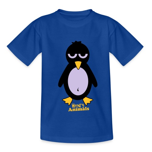 Kinder T-Shirt royalblau mit Pinguin - Teenager T-Shirt