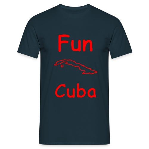 T shirt blu con Fun Cuba contorno isola in rosso - Maglietta da uomo