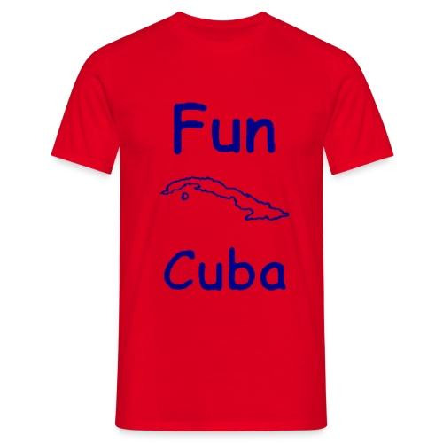 T shirt rossa con Fun Cuba contorno isola in blu - Maglietta da uomo