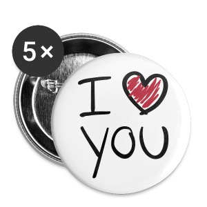 Button I love you - Buttons mittel 32 mm