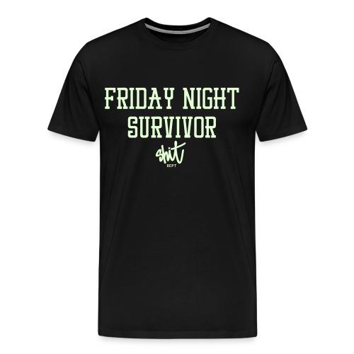 FRIDAY NIGHT SURVIVOR by SHIT dept. Party Harder t-shirt (Glow in the dark) - Men's Premium T-Shirt