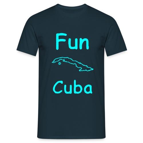 T shirt blu con Fun Cuba contorno isola in azzurro - Maglietta da uomo