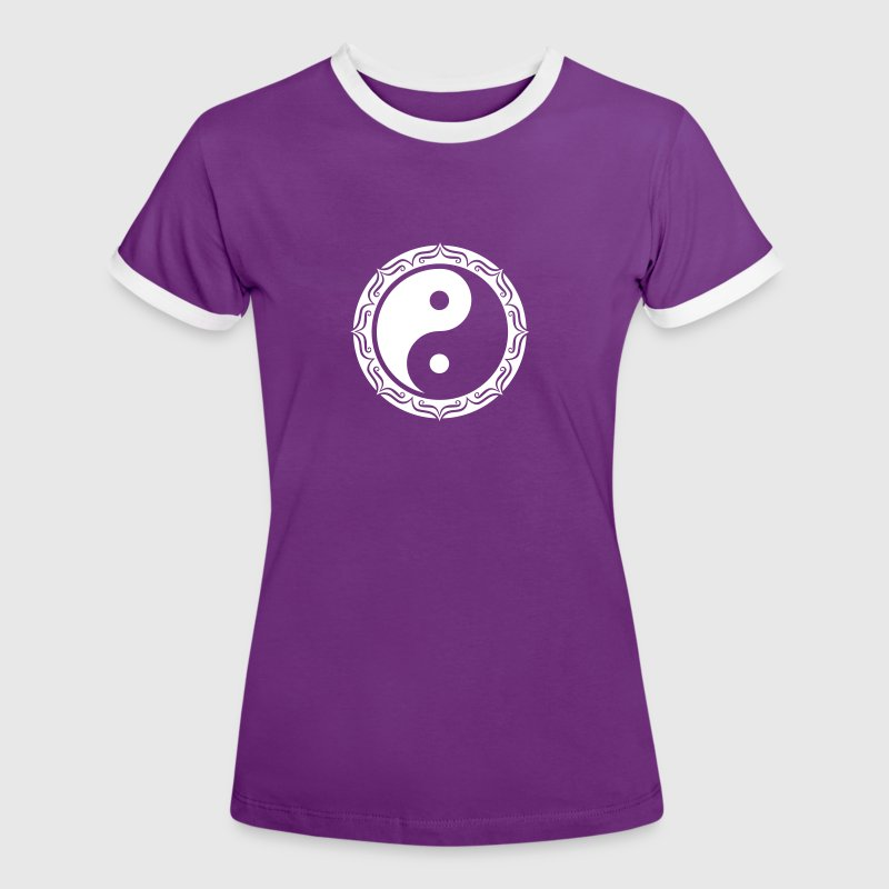 Yin Yang Lotus, Chinese Symbol, Tao, Martial Art T-Shirts - Women's Ringer T-Shirt