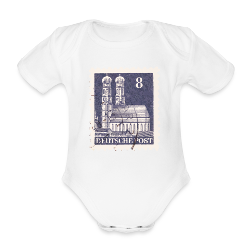 München Briefmarken Babybody 8er Blau - Baby Bio-Kurzarm-Body