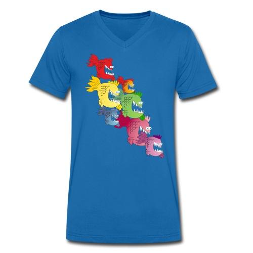Piranhas Regenbogen Männershirt V-Ausschnitt - Männer Bio-T-Shirt mit V-Ausschnitt von Stanley & Stella