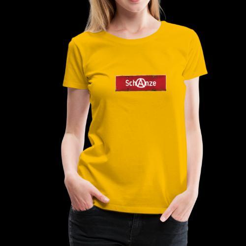 "Damen T-Shirt: Schanze | Retro-Ortsschild | Anarcho ""A"" | Hamburg - Frauen Premium T-Shirt"
