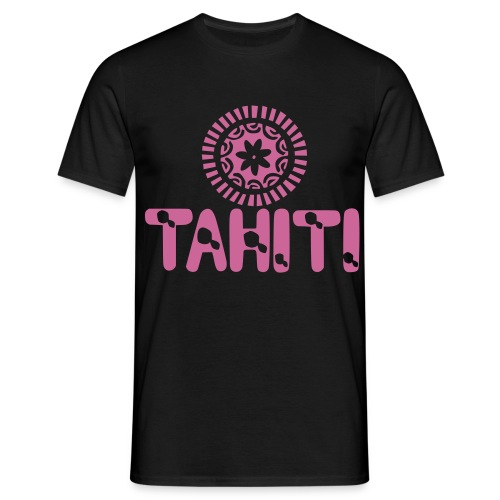 TAHITI T-SHIRT MAP TIARE TATTOO PINK - T-shirt Homme