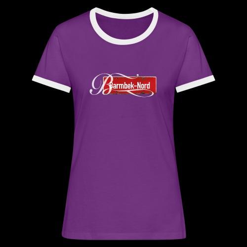 Frauen Kontrtast-T-Shirt: Barmbek-Nord | Retro-Ortschild | Schmuckinitial - Frauen Kontrast-T-Shirt