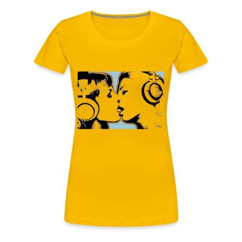 Kissing Headphone girls - Women's Premium T-Shirt