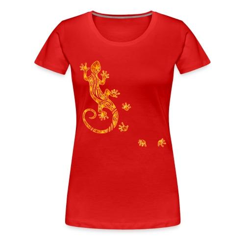 Running Gecko Fire   Frauen Shirt Übergröße - Frauen Premium T-Shirt