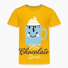 Funny cute mug with i love hot chocolate with sweet cream time slogan in cold snow freezing fall winter t-shirts for geek chic, trendy girls, gift friend christmas mothersday valentine's day Kids' Shirts