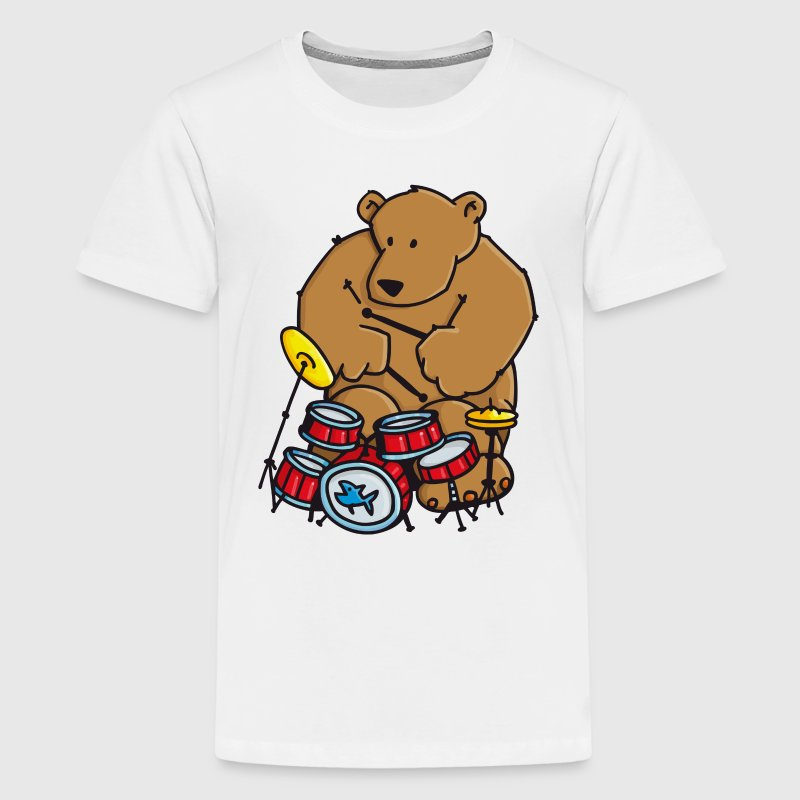 The bear plays drums Shirts - Teenage Premium T-Shirt