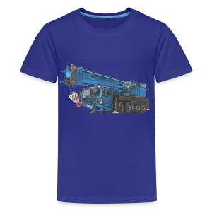 Mobile Crane 4-axle - Blue - Teenage Premium T-Shirt