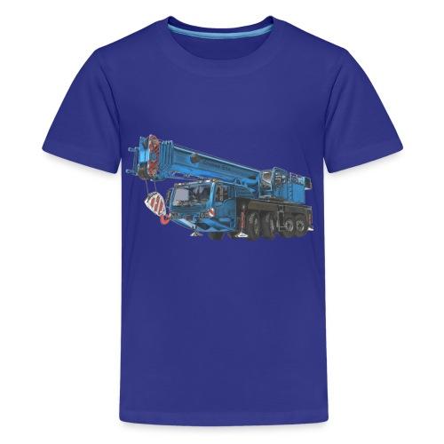 Mobile Crane 4-axle - Blue - Teenage Premium T-Shirt