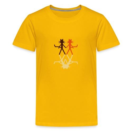 Kindershirt Katze Kittycat küssende Schatten - Teenager Premium T-Shirt