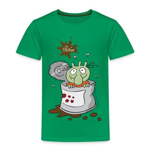 Kinder Premium T-Shirt - Ein offizielles Olchi - T-Shirt. Die Olchis vom Oetinger Verlag. Weitere tolle T-Shirts, Langarmshirts und Pullover von den Olchis aus Schmuddelfing und ihrem Drachen Feuerstuhl findet ihr im Olchis T-Shirt-Shop.