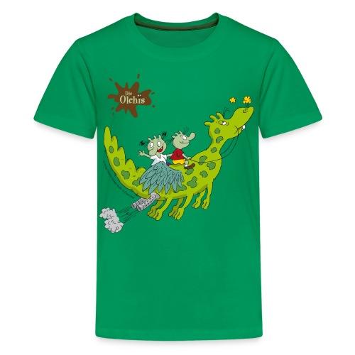 Teenager Premium T-Shirt - Ein offizielles Olchi - T-Shirt. Die Olchis vom Oetinger Verlag. Weitere tolle T-Shirts, Langarmshirts und Pullover von den Olchis aus Schmuddelfing und ihrem Drachen Feuerstuhl findet ihr im Olchis T-Shirt-Shop.