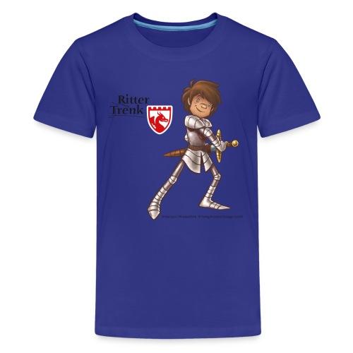 Teenager Premium T-Shirt - Ein offizielles Ritter Trenk Fanprodukt vom Oetinger Verlag. Viele weitere tolle T-Shirts, Langarmshirts und Pullover von Ritter Trenk Tausendschlag, Ferkelchen, Thekla und ihren Abenteuern auf Burg Hohenlob findet ihr im Ritter Trenk Fanshop.