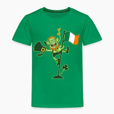Leprechaun Singing on an Irish Flag Pole Shirts