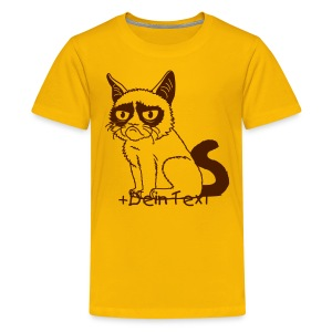 Grumpy Cat (+ Dein Text) 1c - Teenager Premium T-Shirt