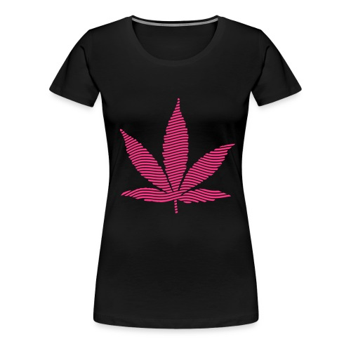 Stoney pink leaf T - BLACK - Women's Premium T-Shirt
