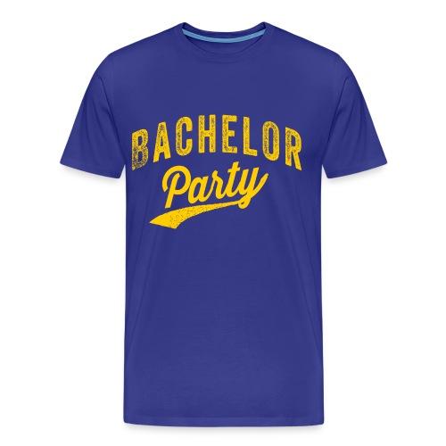 Bachelor Party shirt blauw met gele tekst voor de man - Mannen Premium T-shirt