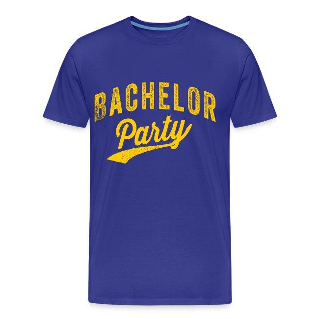 Bachelor Party shirt blauw met gele tekst voor de man