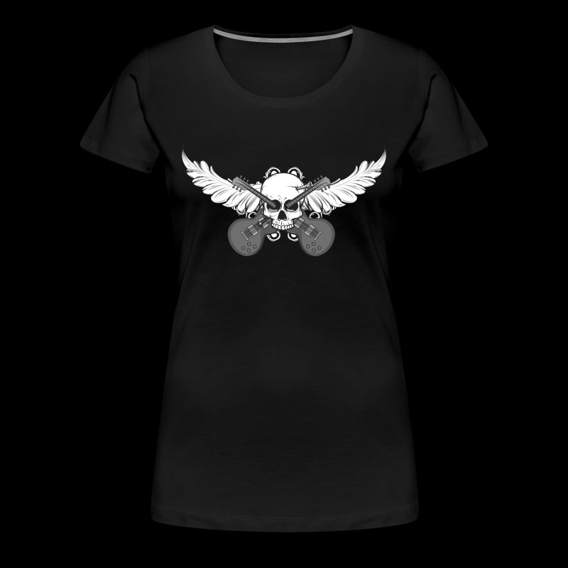 Winged skull with guitars - Frauen Premium T-Shirt