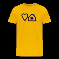 T-Shirts ~ Men's Premium T-Shirt ~ Love Progressive House (Symbolic, Navy on Yellow, Ver.2)