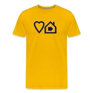 Love Progressive House (Symbolic, Navy on Yellow, Ver.2) - Men's Premium T-Shirt