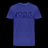 T-Shirts ~ Men's Premium T-Shirt ~ I Love House Music (Symbolic, Blue on Sky Blue) - Ver.2