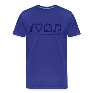 I Love House Music (Symbolic, Blue on Sky Blue) - Ver.2 - Men's Premium T-Shirt