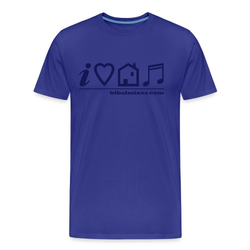 I Love House Music (Symbolic, Blue on Sky Blue) - Ver.2 - Men's Premium T-Shirt