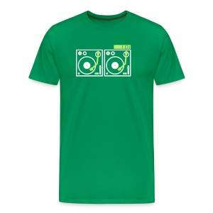 I DJ - with 2 Vinyl Turntables - 2 color flex - Men's Premium T-Shirt