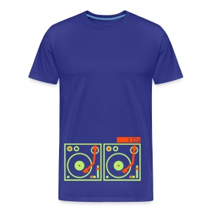 I DJ - with 2 Turntables - flex print, 2 colors - Men's Premium T-Shirt