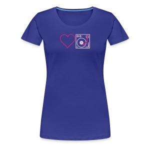I DJ - Love DJ - Heart DJ - 2 color FLOCK print - Women's Premium T-Shirt