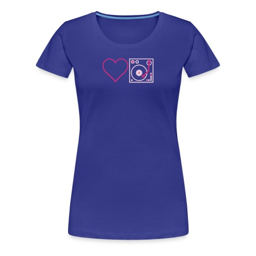 I DJ - Love DJ - Heart DJ - 2 color FLOCK print - Women's Premium T-Shirt