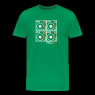 T-Shirts ~ Men's Premium T-Shirt ~ I DJ - 4 Turntable - PRO DJ - 2 color FLOCK print