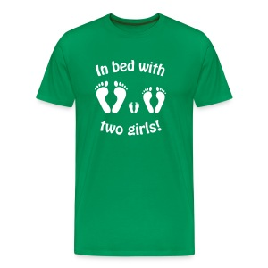 In bed with two girls, baby, mama, papa, girl - Männer Premium T-Shirt