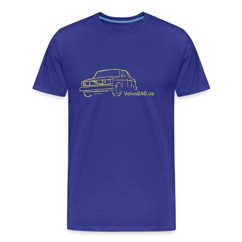 volvo 240 244 t shirt in blau mit gelbem druch frei farbwahl - Männer Premium T-Shirt