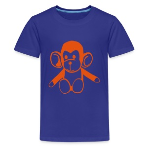 Cute For Kids -  Monkey (Blue/Red) - Teenage Premium T-Shirt