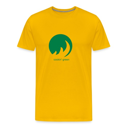 Cookin' Green (Yellow w/Backprint) - Men's Premium T-Shirt