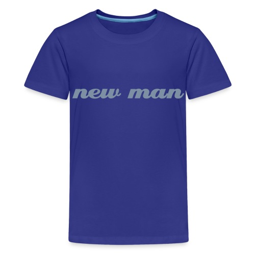 New man childrens t-shirt - sky with silver text - Teenage Premium T-Shirt