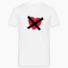 White Crossed our Heart - No Love - No Heart Men's Tees
