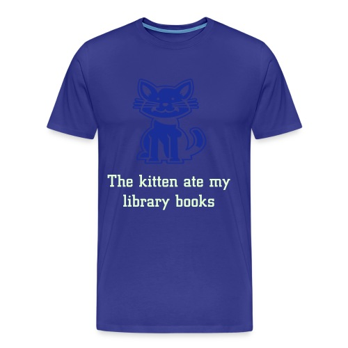 The kitten ate my library books blue tee - Men's Premium T-Shirt