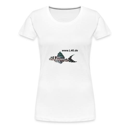 Girly-T V-Neck Weiß Logo zweiseitig groß - Frauen Premium T-Shirt