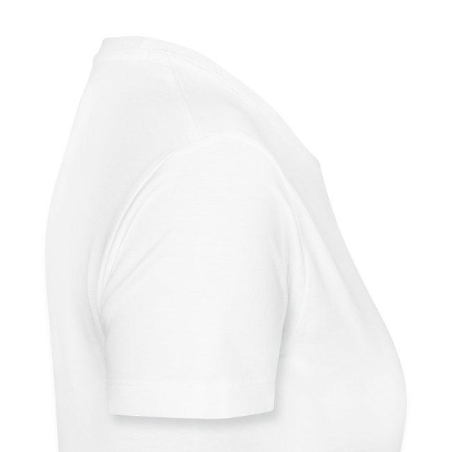 Girly-T V-Neck Weiß Logo zweiseitig groß